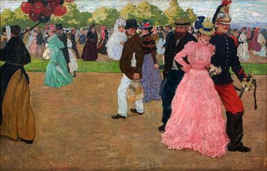 peinture-impressionnisme-Evenepoel - Promenade du dimanche au Bois de Boulogne