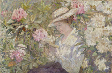 peinture-impressionnisme-anna-boch woman reading in a clump of rhododendrons