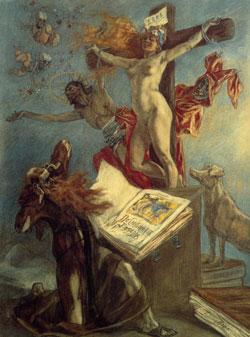 peinture-realisme-Felicien Rops - La tentation de Saint Antoine
